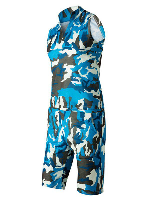 Camo Sleeveless Stand Collar Men's Suit(Tank Top + Shorts) - S BLUE