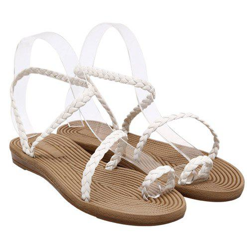 Casual Weaving and Flat Heel Design Women's Sandals - WHITE 37