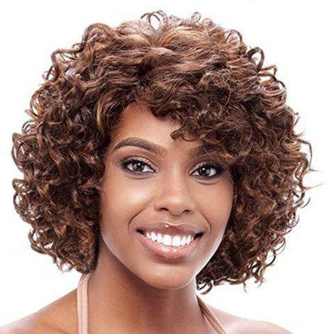 Elegant Heat Resistant Fiber Brown Capless Fluffy Curly Side Bang Women's Short Wig elegant heat resistant fiber brown capless fluffy curly side bang women s short wig