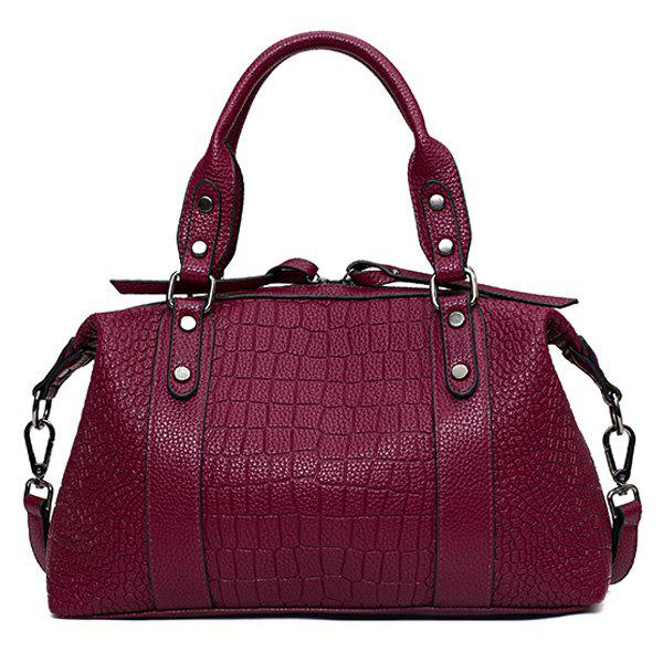 Trendy Embossing and Metallic Design Women's Tote Bag - ROSE