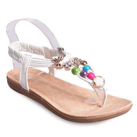 Bohemian Colorful Bead and Flat Heel Design Women's Sandals - WHITE 40