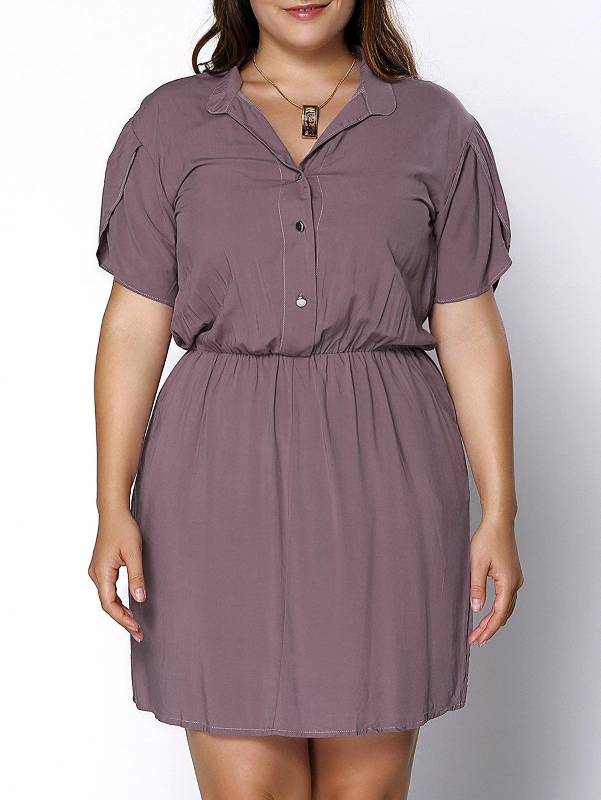Trendy Short Sleeve Pocket Design Pure Color Plus Size Women's Dress - PURPLE XL