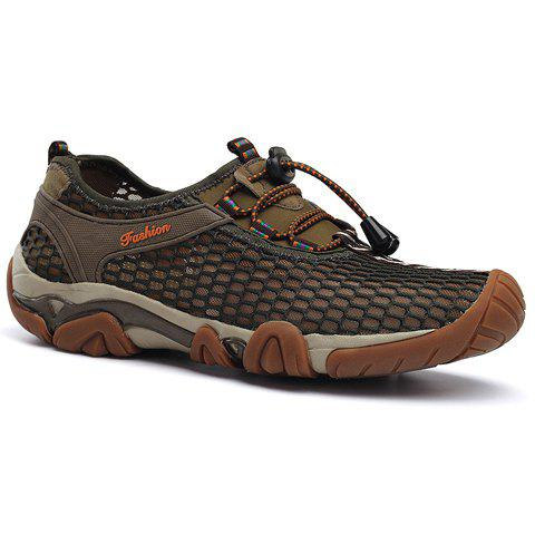 Fashionable Breathable and Mesh Design Men's Casual Shoes - KHAKI 42