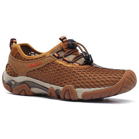 Fashionable Breathable and Mesh Design Men's Casual Shoes - BROWN 39