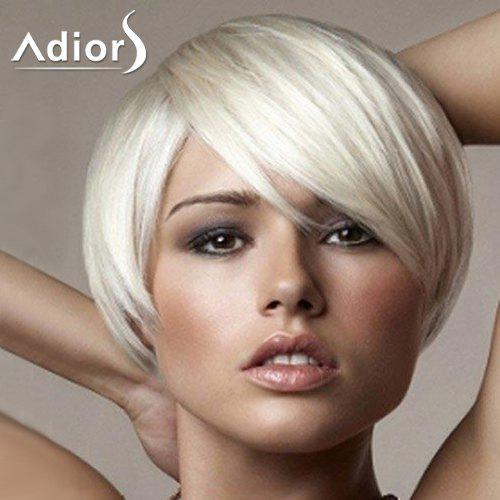 Trendy Light Blonde Short Capless Straight Inclined Bang Women's Synthetic Wig - LIGHT GOLD