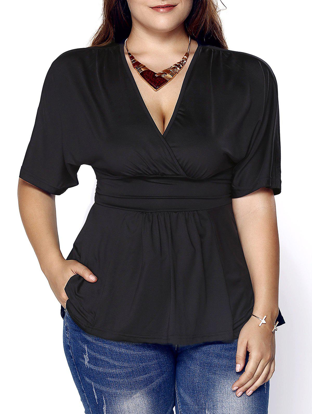 Fashionable Short Sleeve Plunging Neck Solid Color Plus Size Women's Blouse