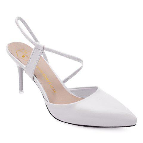 Graceful Pointed Toe and Stiletto Heel Design Women's Sandals - WHITE 36