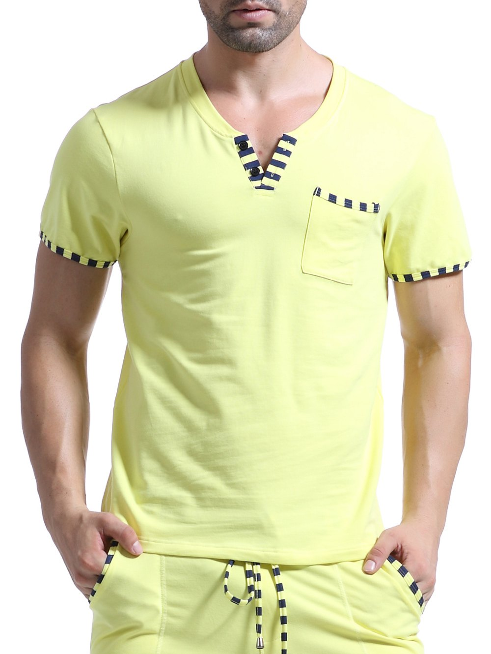 Casual V-Neck Striped Printed Short Sleeve Men's T-Shirt - YELLOW XL