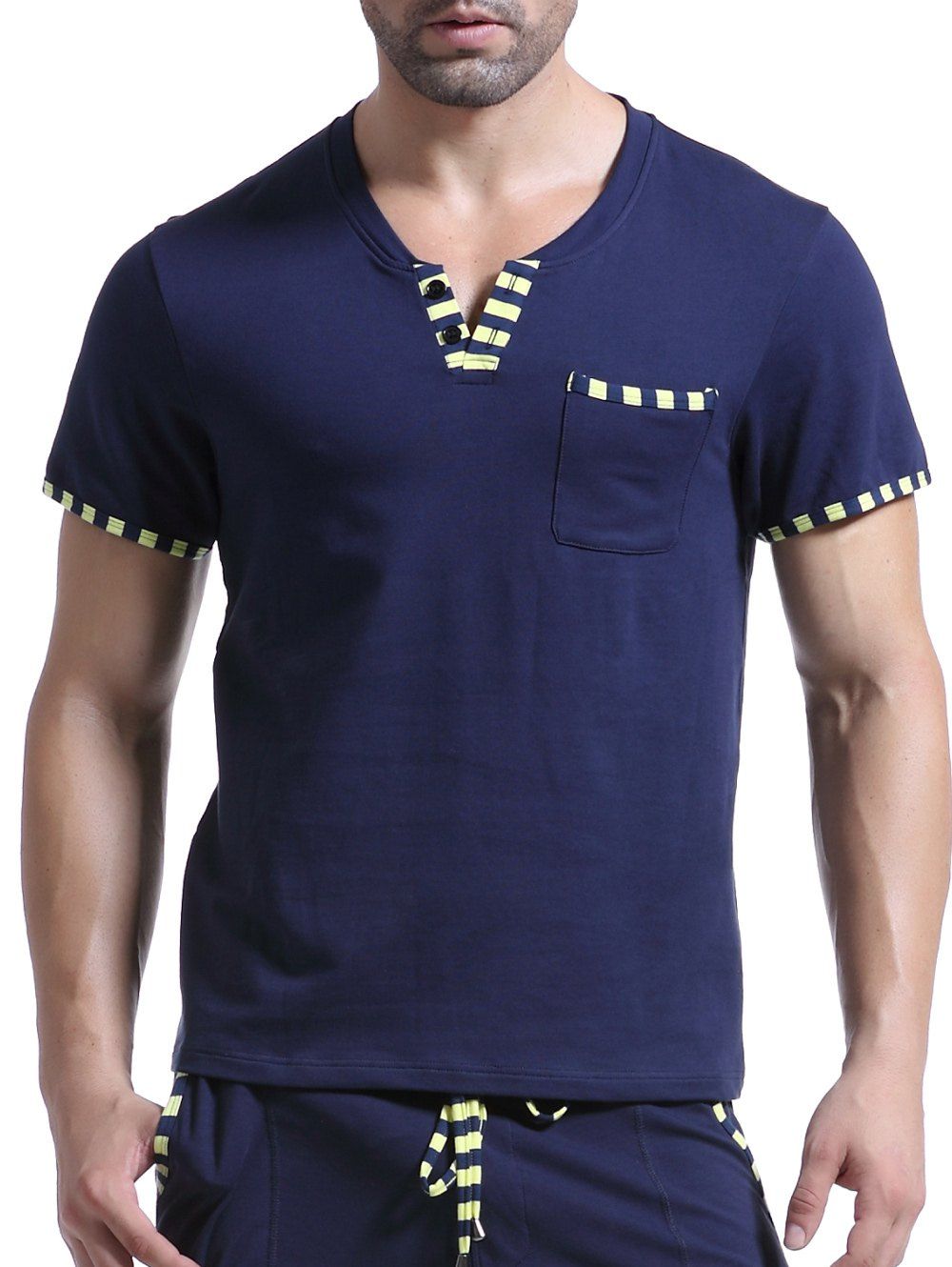 Casual V-Neck Striped Printed Short Sleeve Men's T-Shirt - SAPPHIRE BLUE L