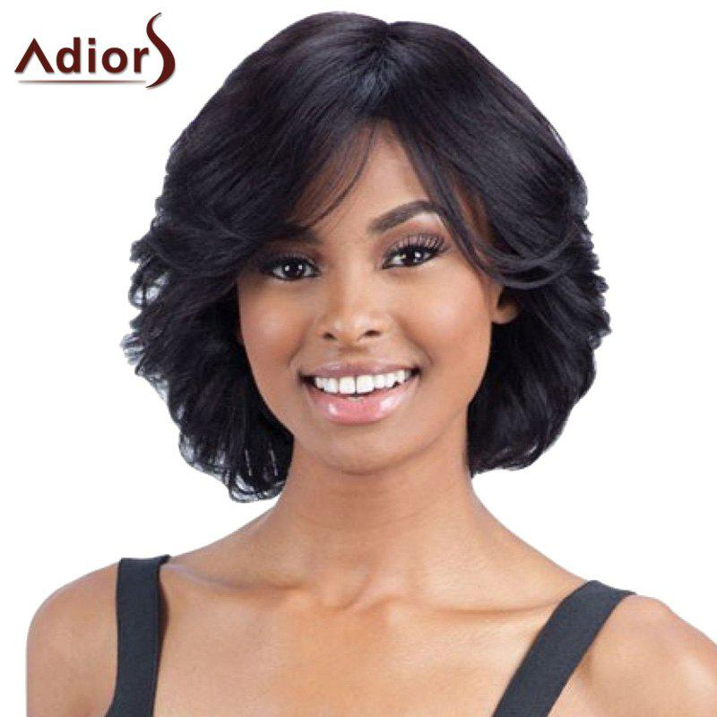 Elegant Black Side Bang Synthetic Short Fluffy Wave Women's Capless Adiors Wig - BLACK