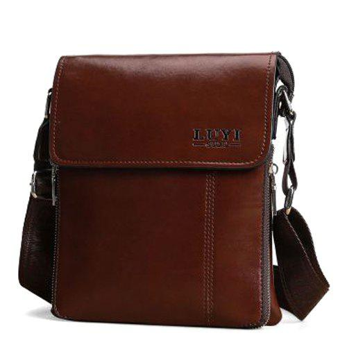 Simple Letter and Solid Color Design Men's Messenger Bag - DARK AUBURN