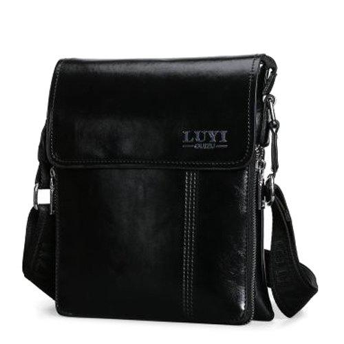 Simple Letter and Solid Color Design Men's Messenger Bag - BLACK