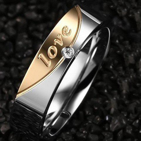One Piece Stylish Love Rhinestone Women's Ring -  SILVER