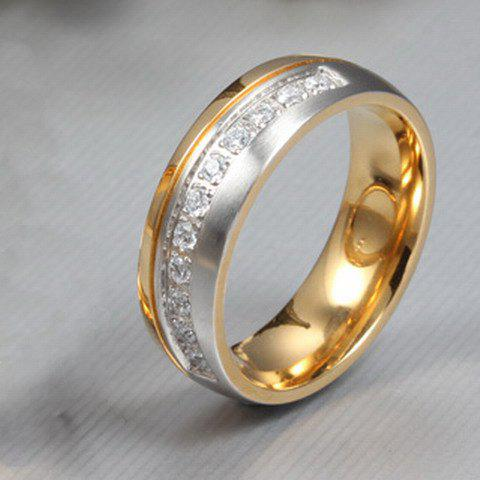 ONE PIECE Stylish CZ Diamond Gold Plated Alloy Women's Ring