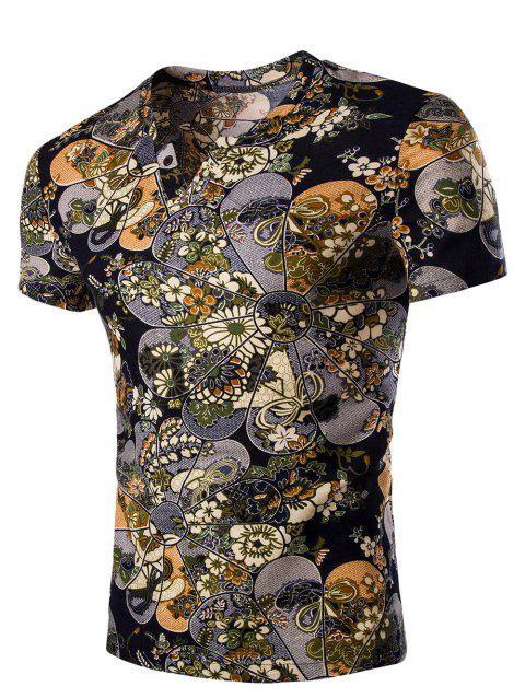 Men's Casual V Neck Flower Printing Short Sleeves T-Shirt - COLORMIX 2XL