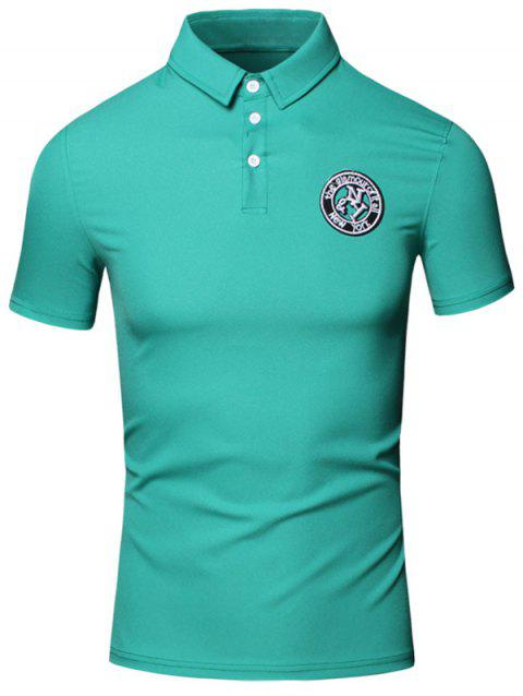 Embroidered Design Turn-Down Collar Short Sleeve Cotton+Linen Men's Polo T-Shirt - GREEN 3XL