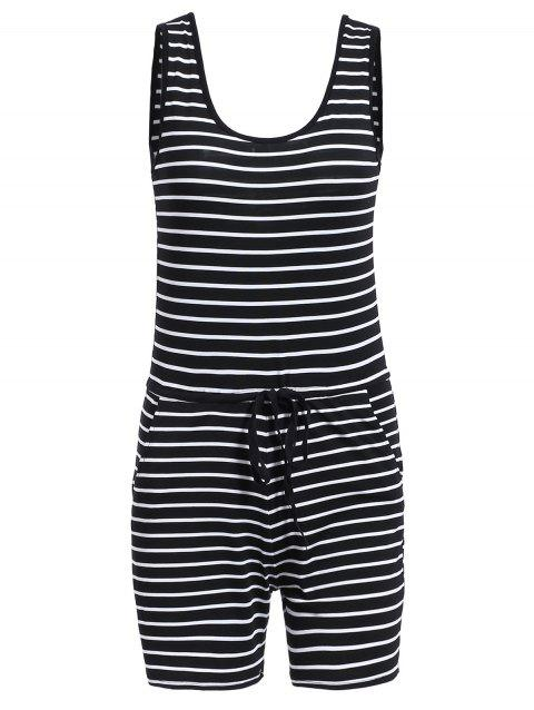 Casual Women's U-Neck Striped Sleeveless Romper - STRIPE S