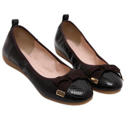 Leisure Bowknot and Embossing Design Women's Flat Shoes - BLACK 36