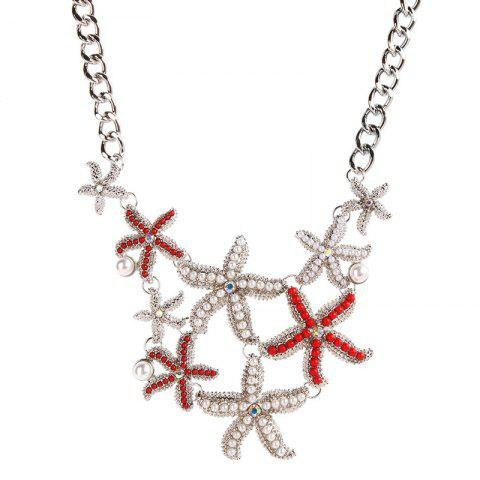 Vintage Faux Pearl Alloy Starfish Necklace - SILVER