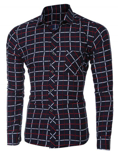 Turn-down Collar Checked Printing Long Sleeves Shirt For Men - RED 2XL