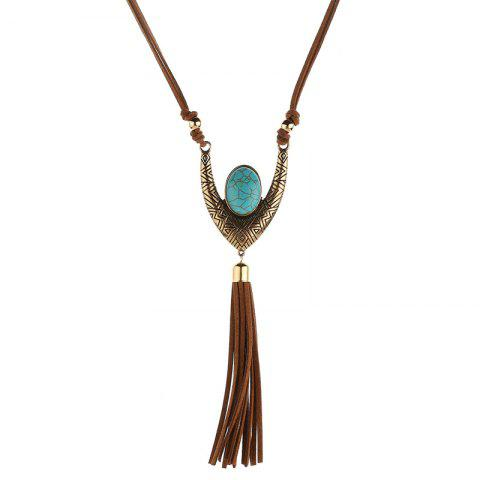 Charming Faux Turquoise Oval Tassel Sweater Chain For Women - BROWN