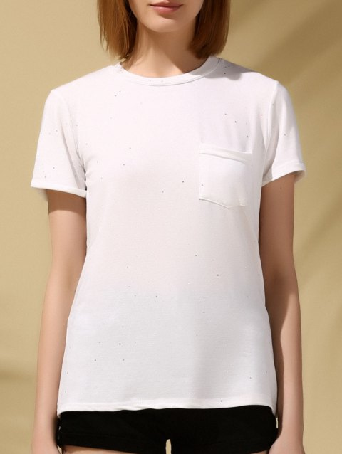 Brief Sequin Embellished Round Neck Pocket Cuffed Sleeve Women's Tee - WHITE ONE SIZE(FIT SIZE XS TO M)