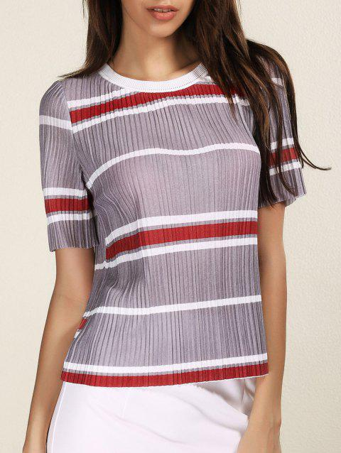 Fashionable Short Sleeve Round Neck Pleated Striped Women's T-Shirt - STRIPE ONE SIZE(FIT SIZE XS TO M)