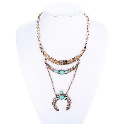 Fake Turquoise Moon Sweater Chain - GOLDEN