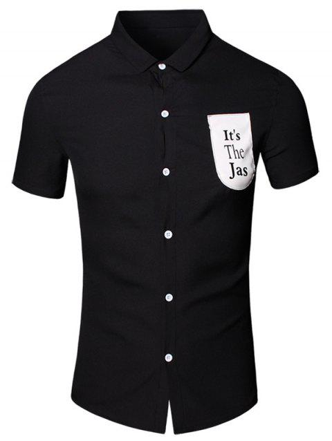 Letter Printed Pocket Turn-Down Collar Short Sleeve Cotton+Linen Men's Shirt - BLACK 3XL