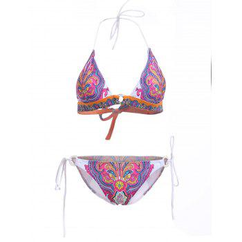 Elegant Women's Halter Neck Tribal Print Bikini Set