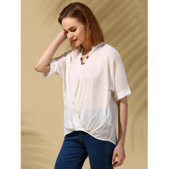 Stylish V Neck See-Through Bat Sleeve Blouse For Women - WHITE ONE SIZE(FIT SIZE XS TO M)