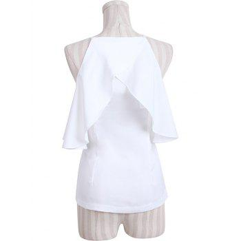 Stylish Pure Color Cold Shoulder Flounce Blouse For Women - WHITE M