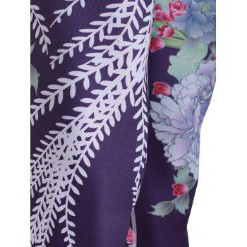 Sporty Women's Floral Print Slimming Pants - BLACK S