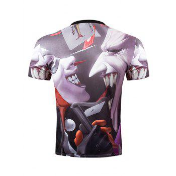 Casual Pullover Round Collar 3D Devil Printed Men's T-Shirt - COLORMIX M