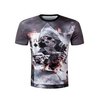 Casual Pullover Round Collar 3D Skull Printed Men's T-Shirt