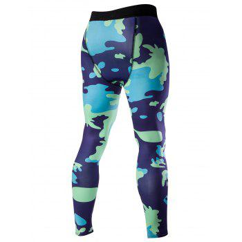 Men's Elastic Waist Abstract Print Fitted Training Pants - BLUE M