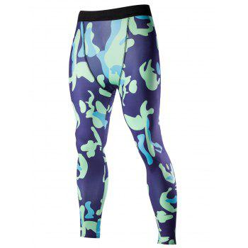 Men's Elastic Waist Abstract Print Fitted Training Pants