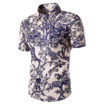 Men's Casual Tree Printing Pocket Design Short Sleeves Shirts