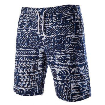Trendy Men's Lace Up Printed Boardshorts