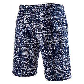 Lace Up Printed Boardshorts s 'Trendy Hommes - Bleu Violet 2XL