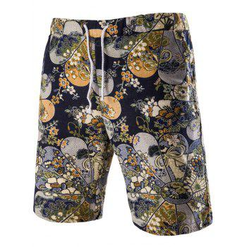 Trendy Lace Up Flower Printed Men's Boardshorts