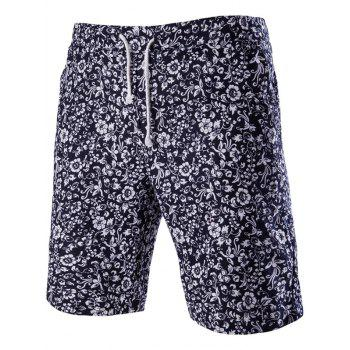 Trendy Lace Up Printed Men's Boardshorts