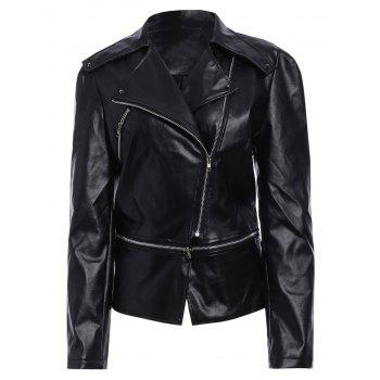 Faux Leather Zip Up Biker Jacket