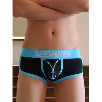 U Pouch Design Color Block Spliced Anchor Letter Print Men's Boxer Brief