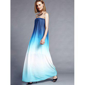 Stylish Sleeveless Strapless Gradient Color Women's Maxi Dress - XL XL