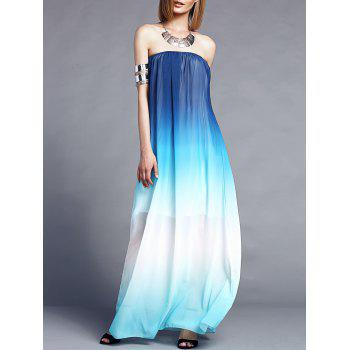 Stylish Sleeveless Strapless Gradient Color Women's Maxi Dress - BLUE XL