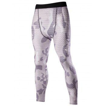 Men's Elastic Waist Camouflage Pattern Fitted Training Pants