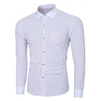 Men's Fashion Turn-down Collar Long Sleeves Striped Shirt