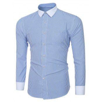 Men's Fashion Turn-down Collar Color Block Long Sleeves Striped Shirt