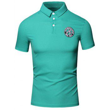 Embroidered Design Turn-Down Collar Short Sleeve Cotton+Linen Men's Polo T-Shirt - GREEN GREEN